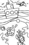 ocean boat w100 coloring page