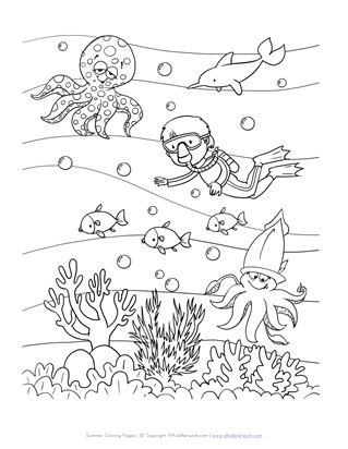 Ocean Diving Coloring Page