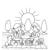 Picnic Coloring Page All Kids Network