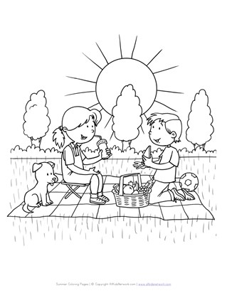 Picnic Coloring Page