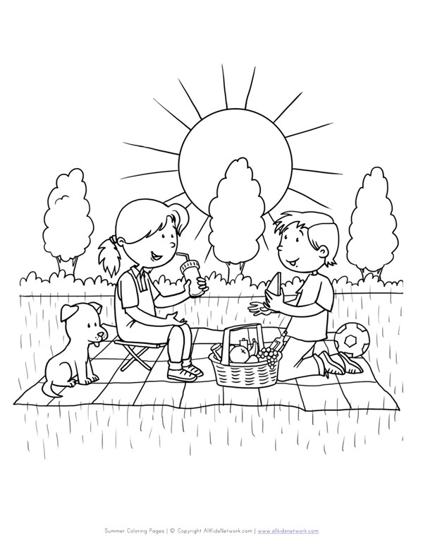picnic coloring pages Picnic Coloring Page | All Kids Network picnic coloring pages