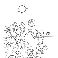 Playing at the Beach Coloring Page