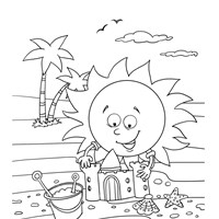 Sun and Sand Castle Coloring Page