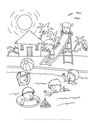 Fun at the Pool Coloring Page