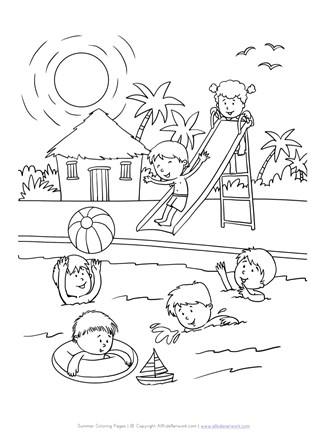 Fun At The Pool Coloring Page All Kids Network