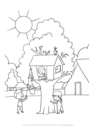 Treehouse Coloring Page | All Kids Network