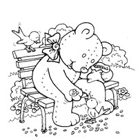 feeding the birds coloring page