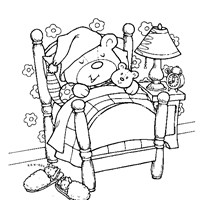 sleeping teddy bear coloring page