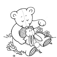 teddy and bunny coloring page