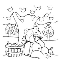 teddy bear apples coloring page
