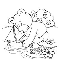 teddy bear boat coloring page