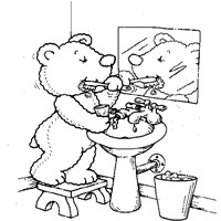 teddy bear brush teeth coloring page