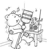teddy bear dancing coloring page