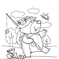 teddy bear fishing coloring page