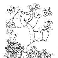 teddy bear with flowers coloring page