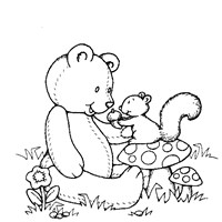 teddy bear with squirrel coloring page