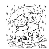 teddy bears in rain coloring page