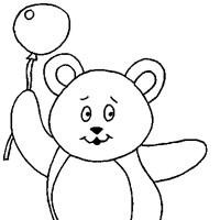 teddy with balloon coloring page