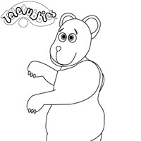 bear on scooter coloring page
