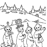 group teletubbies coloring page