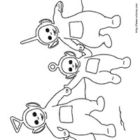 holding hands teletubbies coloring page