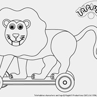 lion on scooter coloring page