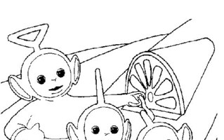 teletubbies by house coloring page