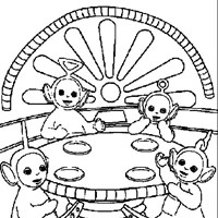 teletubbies eat snack coloring page