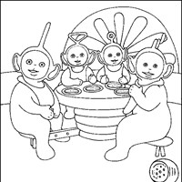 teletubbies eating coloring page