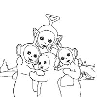 teletubbies hug coloring page