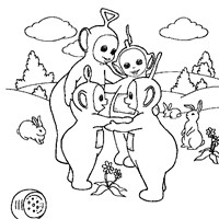 teletubbies in field coloring page