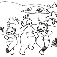 teletubbies skipping coloring page