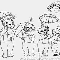 teletubbies umbrellas coloring page