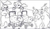 teletubbies with sheep toys coloring page