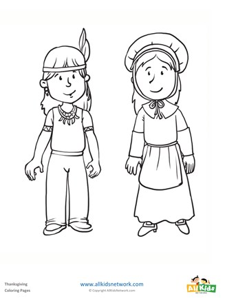 Pilgrim And Indian Coloring Page All Kids Network