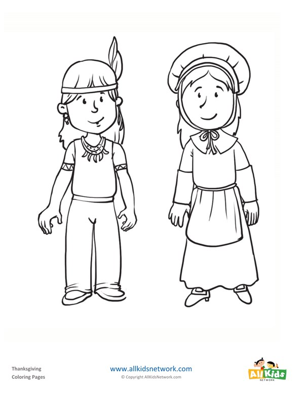 Pilgrim and Indian Coloring Page | All Kids Network
