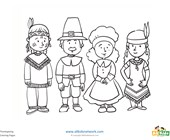 Pilgrims and Indians Coloring Page