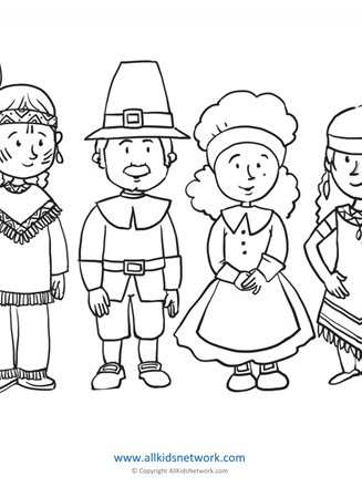 Pilgrims And Indians Coloring Page All Kids Network