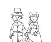 Pilgrims and Turkey Coloring Page