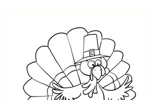 Turkey on Pumpkin Coloring Page