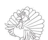 Turkey with Pilgrim Hat Coloring Page
