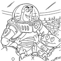 buzz with alien toy coloring page