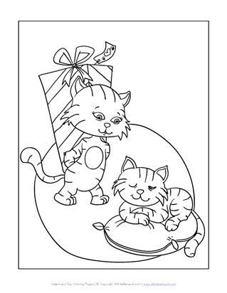 cats valentine's day coloring page