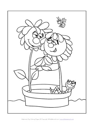 flowers valentine's day coloring page