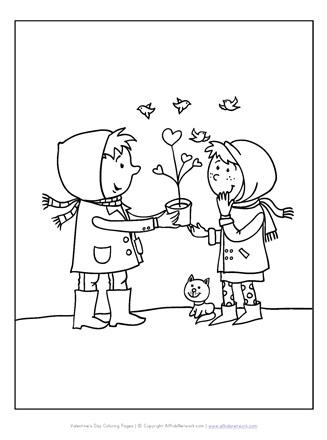 giving valentine's day coloring page