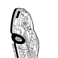 dinosaur car coloring page