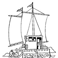 fishing ship coloring page