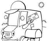 mail truck coloring page