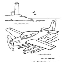 water plane coloring page