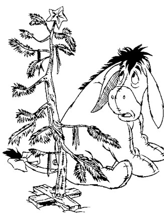 Winnie the Pooh Coloring Page - eeyore christmas tree | All ...